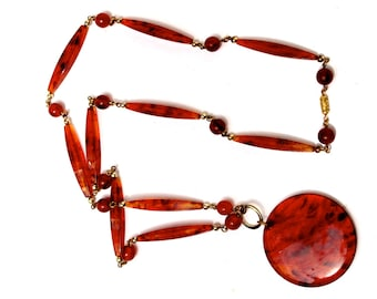 Mid Century Modernist Very long  Faux tortoise Lucite pendant necklace