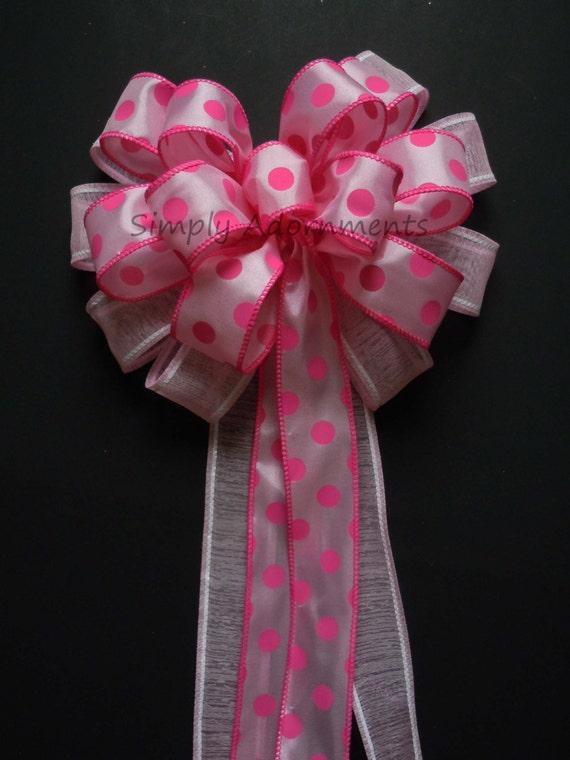 Girls 1st birthday Party Decor Pink Polka Dots Wreath Bow Pink Polka Dots Baby shower party Decor Baby Girls Shower decor Cake Table Decor