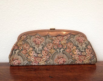 vintage floral tapestry clutch purse,