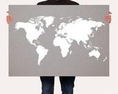 Gray Map of the World,  World Map Poster, Customizable World Map, My Travels World Map Print, Roadtrip Art - LARGE -MEDIUM SIZE