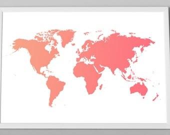 World Map Ombre Art Print, Coral World Map, Child Wall Decor, World Map, Travel World Map, Art - XLarge - Medium