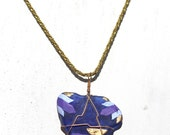 Sea Glass Pendant - Double Sided Hand Painted Cobalt Blue Seaglass Necklace