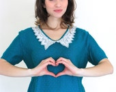Vintage Teal Blue Knit Short Sleeve Sweater Blouse With Crochet Peter Pan Collar