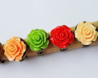 Rose Flower Adjustable Ring Antique Brass Rose Ring Summer Jewelry Bridesmaid Gift