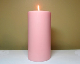 """Light Pink Soy Pillar Candle Unscented - Choose 4"""", 6"""", 9"""" Height"""