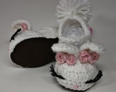 Baby/Youth Suede Sole Bunny Slippers with Buttoned Strap