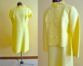 RESERVED 1960s Vintage Sheath Dress and Matching Jacket in Butter Yellow size L XL bust 40