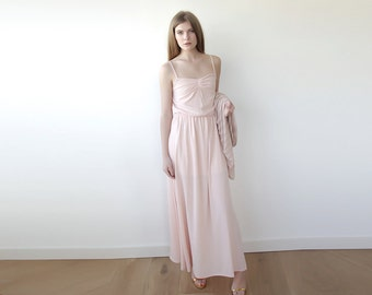 Pink blush maxi bridesmaids dress, Pink junior bridesmaids dress 1004