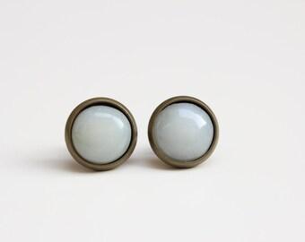 Pale Green Stud Earrings | Hand-Sculpted Soapstone Post Earrings | Round Geometric Stone Earrings | Brass