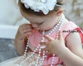 Baptism Hair Accessories-White-Chiffon-Vintage-Pearls-Flower Headband-Wedding-Photo Prop-Flowers for Hair-Christening-Flower Girl-Baby
