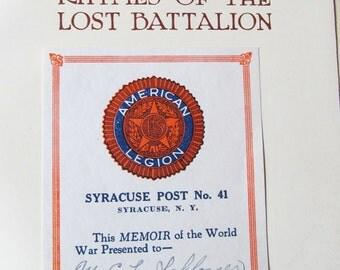 Lost Battalion, Syracuse, NY, Historic Illustrated, World War I, Remembrance, Presentation Label, American History, American Legion