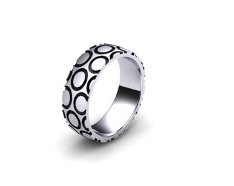 Sterling Silver 8mm Wide Circle Pattern