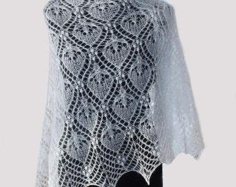 """Hand knitted kidsilk lace shawl   """"White Princess"""""""