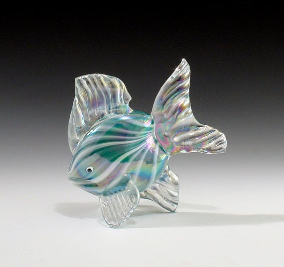Hand blown glass fish sculpture turquoise tropical fish for Blown glass fish