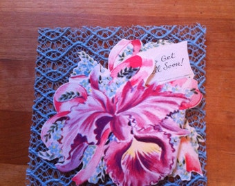 Lacies 1940's Die Cut Starched Lace Get Well// Pop Up 3D Card : Fancy Cattleya Orchid Corsage// Vintage Lace// Lace Card