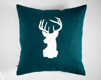 Deer head blue cushion cover Reindeer pillow white print modern pillow winter pillow teal blue linen pillow case 0131