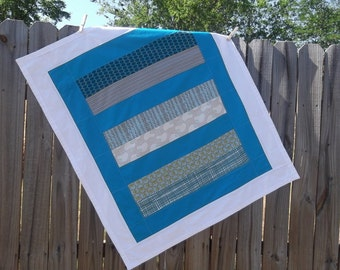Modern Baby Quilt-Boy Nursery Bedding-Crib Blanket-Contemporary- Trendy-Chic-Cradle Cot-Blue Gray Grey