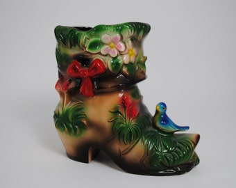 Fancy Boot Planter with Blue Bird