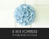 Wedding Pomander - 8 Inch Kissing Ball - Bridal or Baby Shower Table Decoration - Choice of Color - Upcycled Book Page Rosette Flower Ball