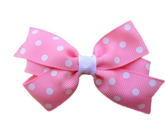 Pink polka dot  bow - pink polka dot bow, pink hair bow, toddler bow