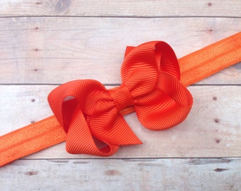 Orange bow headband - orange baby bow headband, baby headband, newborn headband, baby girl headband, halloween headband, orange headband