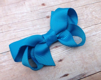 Small island blue hair bow - blue bow, turquoise bow