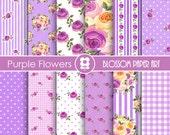 Digital Paper Purple Flowers Digital Paper Pack, Scrapbooking, Floral Papers, Picnic Papers - Modern Designs - 1727