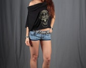 Women blouse black screen printed top Skull flower in Gold Hi Low cowl neck blouse size XS extra small