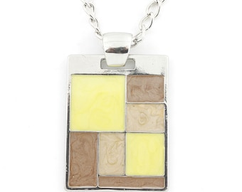 Beautiful Silver-tone Yellow/Brown Rectangle Plate Statement Necklace,Q2