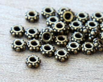 20 pcs Antique Brass TierraCast Beads, 5mm Small Turkish Heishi Spacer - eTBE425-BO