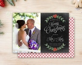 Chalkboard Newlywed Christmas Card - Laurel Mistletoe Merry Christmas from the new Mr. and Mrs. Photo Card Gingham Buffalo CheckDigital File