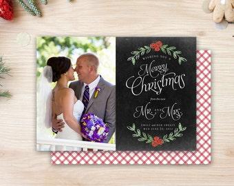 Chalkboard Newlywed Christmas Card - Laurel Mistletoe Merry Christmas from the new Mr. and Mrs. Photo Card Gingham Buffalo CheckDigital File