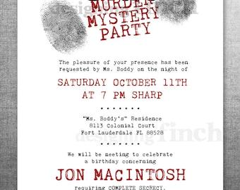 Clue Birthday Invitation, Murder Mystery Party, Customizable, Printable #134