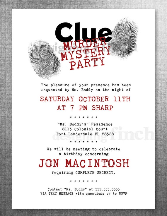 Clue birthday invitation murder mystery party customizable like this item stopboris Image collections