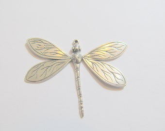 1 52x37.8x3.45mm Antiqued Sterling Silver Bali Dragonfly Drop, Dangle, Charm, Pendant