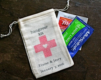 Personalized DIY Hangover Kit.  Wedding favor bags, muslin, 3x4.5. Set of 50.  Red cross with heart.