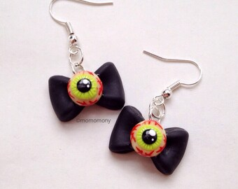 Cute Eyeballs with Bow Earrings