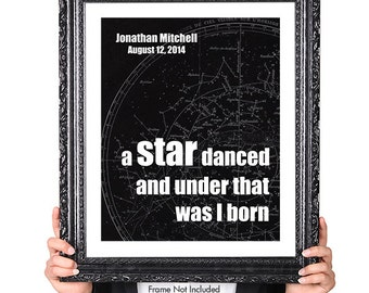 A STAR DANCED, Nursery Decor, Featured in Pink, Childrens Decor, Baby Wall Art, Baby Shower Gift, New Mom Gift, 8x10