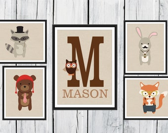 Woodland Friends Nursery Decor - 5 Piece set - 11x14 and 8x10 Fox Print - Raccoon Print