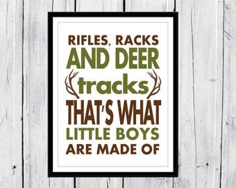 Rifles Racks and Deer Racks - Rustic Nursery Decor -Nursery Print - Little Boys - Hunting