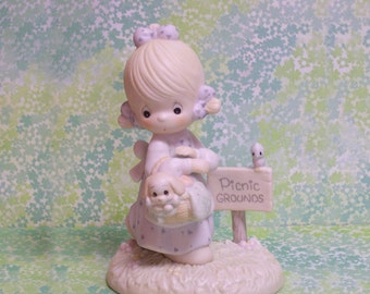 Precious Moments July Figurine Girl and Puppy Going for a Picnic Calendar Girl 110051 Retired