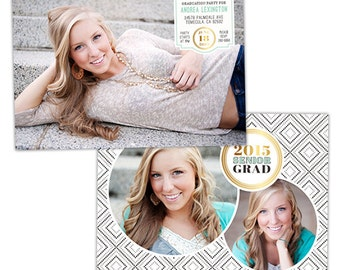 Senior Graduation Announcement Card Template for Photographers - Photoshop Templates for Photographers - Photo Card Template - GD115