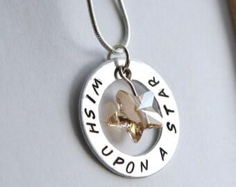 Wish Upon a Star Necklace, Stamped Star Necklace, Swarovski Star Necklace