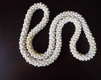 vintage flapper pearl cluster  woven rope necklace