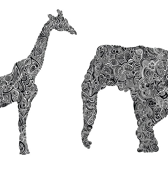 Black Line Drawings Of Animals : Custom animal art print india ink line drawing black white