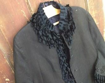 French Black Coat Cape, Victorian Era Black Felted Wool Herringbone Embroidery Brocade Cape