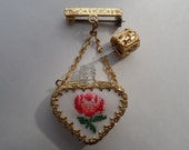 Petit Point Rose Design Glass Perfume Heart Bottle with Dauber Gold Gilt Filigree Bar Pin Brooch