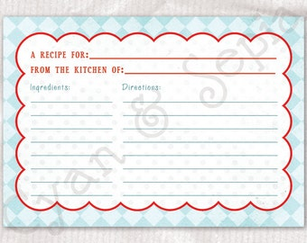 Recipe Card Printable PDF, 3.5x5 and 4x6 - Retro Housewife Cook - Aqua Blue Red White - Retro Kitsch 1950s Bridal Wedding Shower Favor