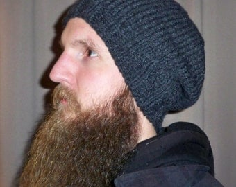 Men's Beanie Beret Slouchy Hat Baggy Tam Cap Hand Knit Ski Snowboard Winter Wool Gray