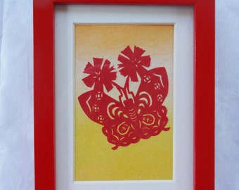 Paper Cutting: Framed traditional Chinese butterfly cut by hand